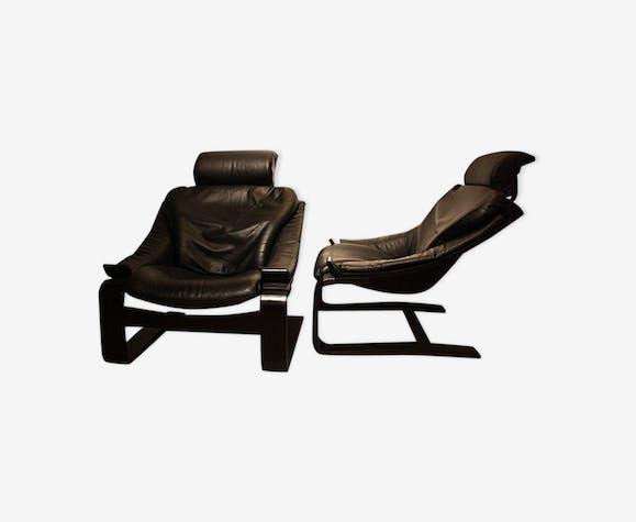 paire fauteuils kroken roche bobois - cuir - noir - vintage - r4htg5d