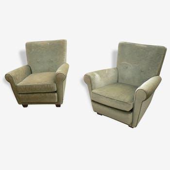 Paire de fauteuils vintage velours