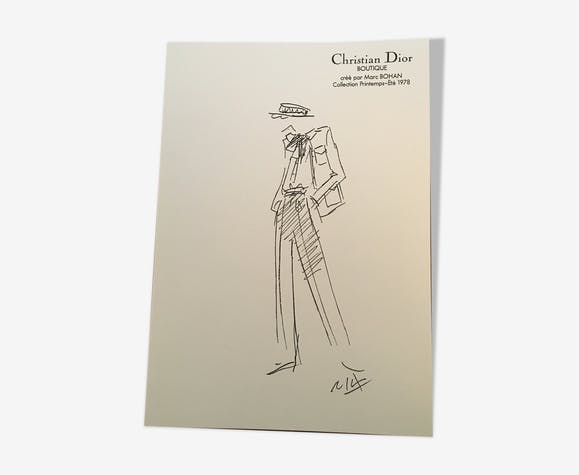 Illustration de mode de presse en noir et blanc Christian Dior - 1978