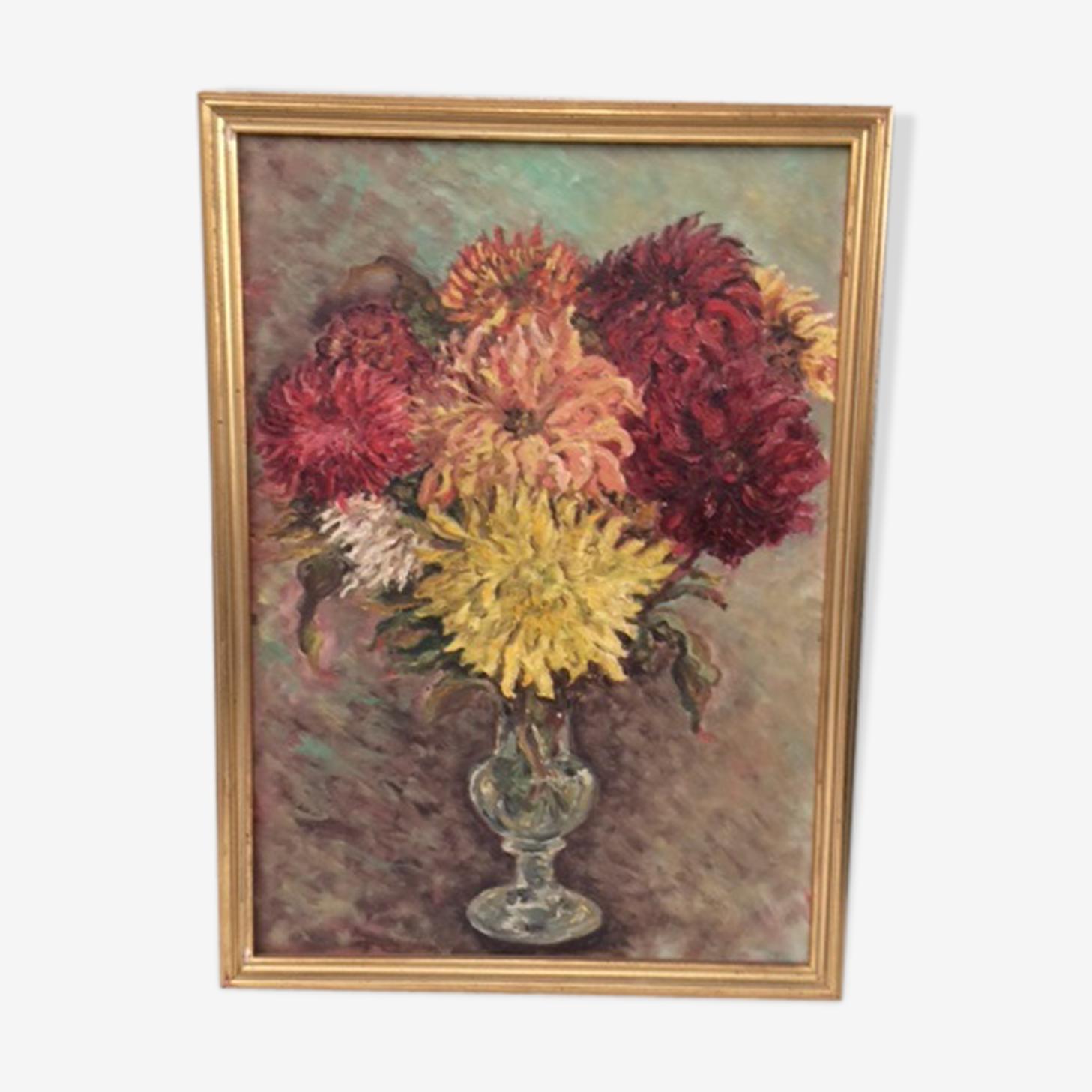 Tableau, le bouquet de Dahlias, sur bois, encadré et vintage