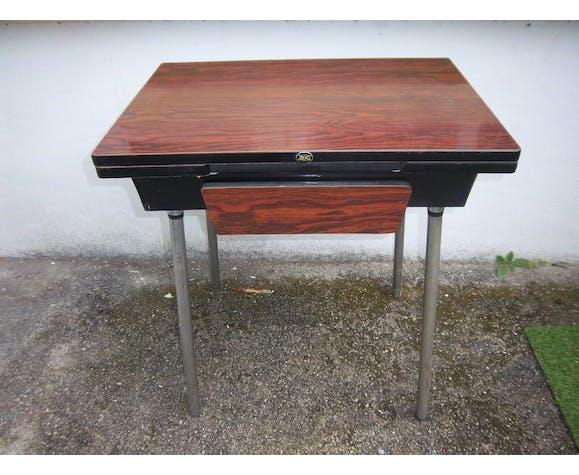 Table de cuisine ROC avec rallonges et tiroir en formica marron