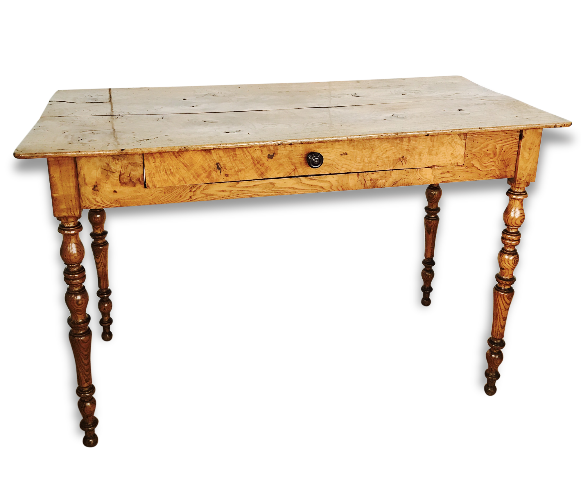 Table bureau en bois d orme massif pieds tournés un tiroir fin