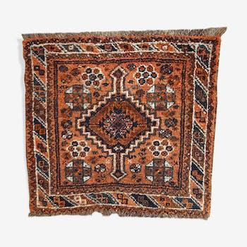 Former carpet Persian Shiraz made hand 81 x 85 cm around 1900
