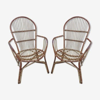Pair of rattan armchairs 1960