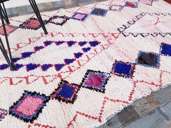 Vintage rug boucherouite 255/135 cm, hand woven Berber rug