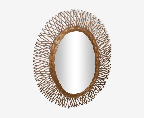 Miroir en rotin