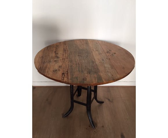 Round Wood Wrought Iron Dining Table Selency