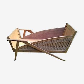 ancien lit b b ann es 60 bois mat riau marron. Black Bedroom Furniture Sets. Home Design Ideas
