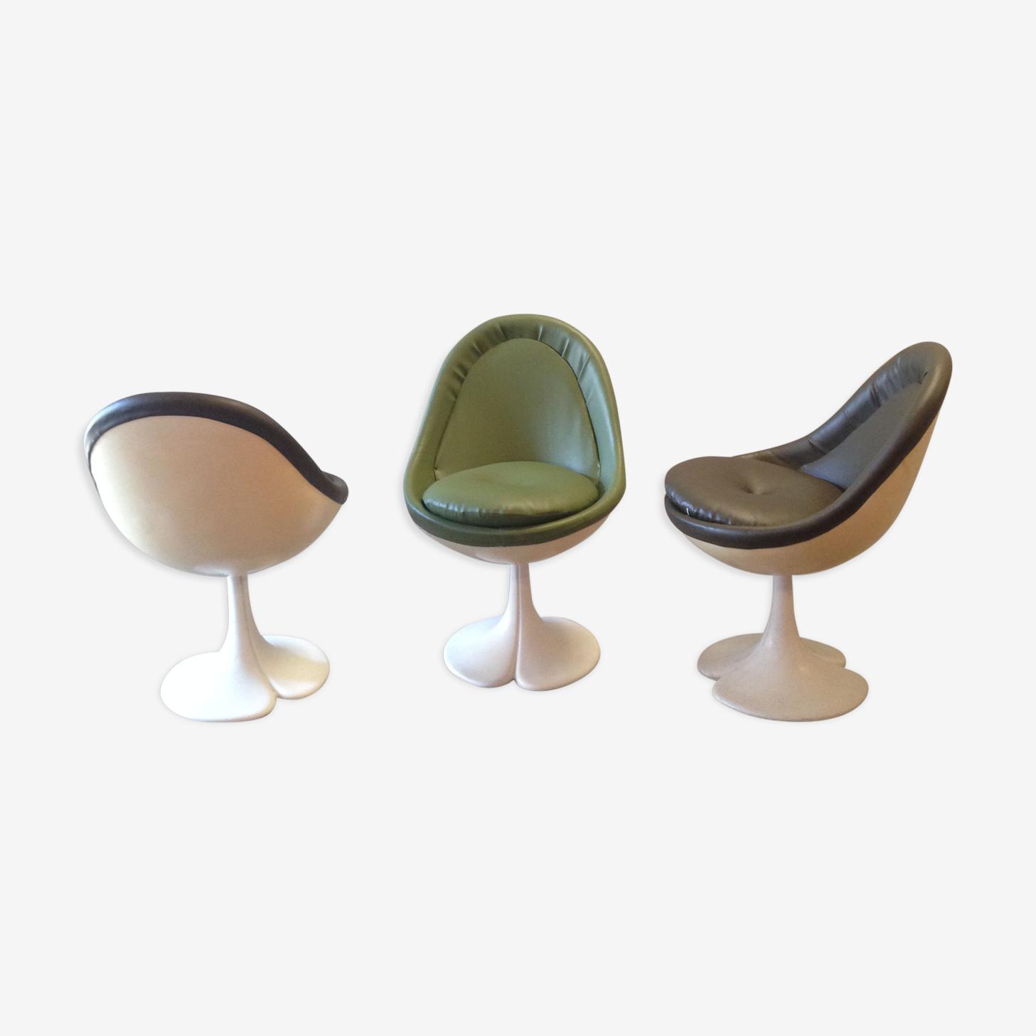 3 chaises pied tulipe simili cuir