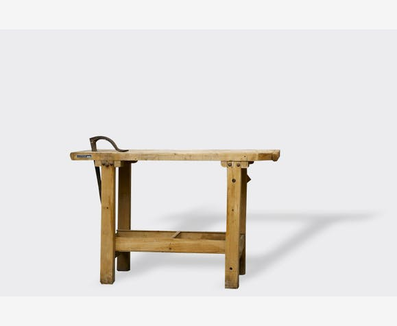 console ancien tabli en bois bois mat riau industriel 2490. Black Bedroom Furniture Sets. Home Design Ideas