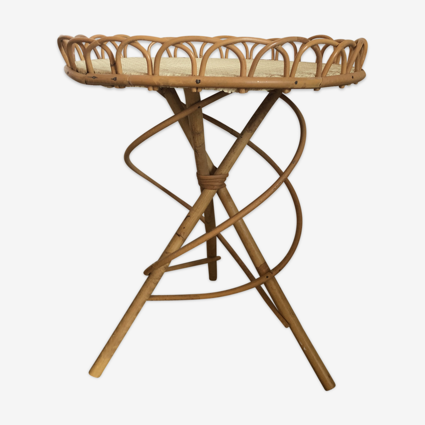 Table d'appoint rotin vintage