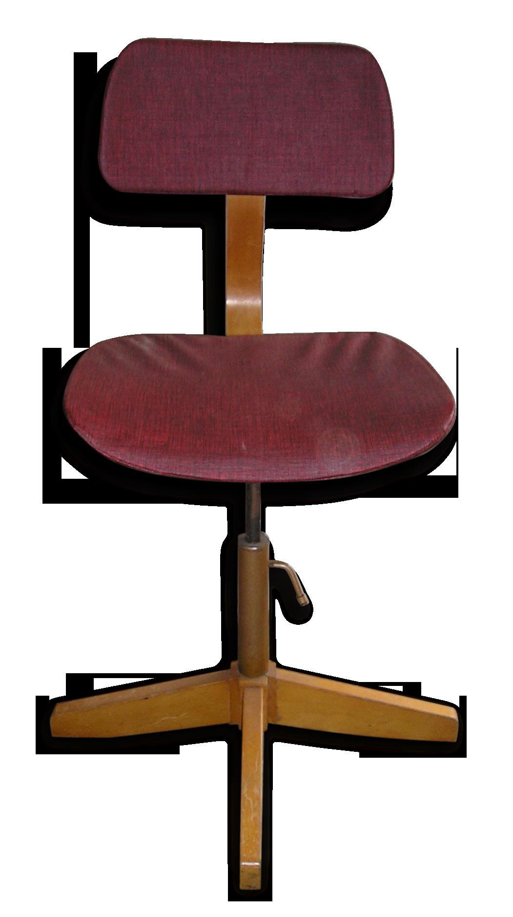 Chaise de bureau réglable en hauteur bois et skai style