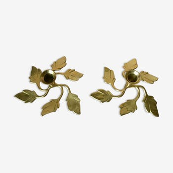 Pair of Two Vintage Swedish Brass Leaves Candleholders, 1970s