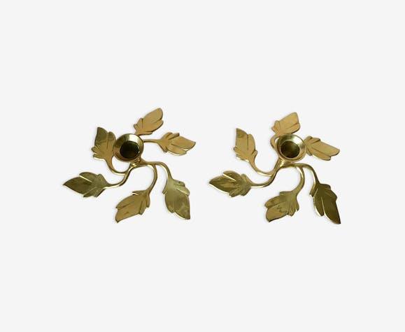 Paire de bougeoirs de feuilles deux laiton suédoise vintage années 1970