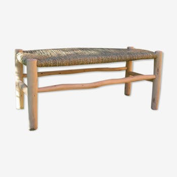 Moroccan bench raw white wood