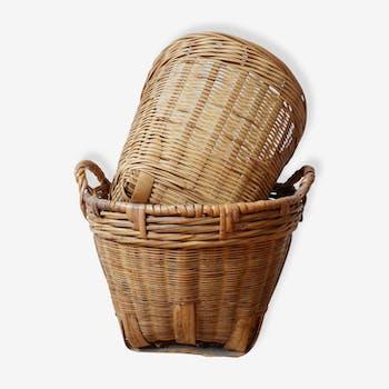 2 cache-pots en rotin et bambou