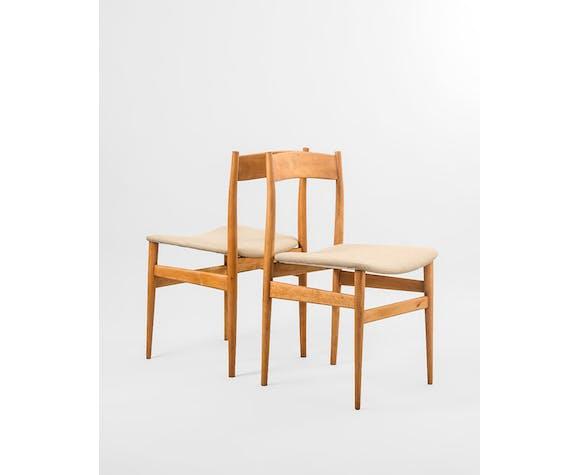 Ensemble de 4 chaises danoises en bois de hêtre, Danemark, années 1960