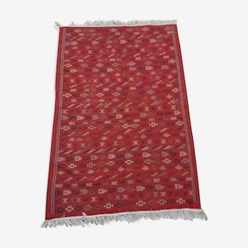 Red Berber carpet Handmade wool 130x200cm