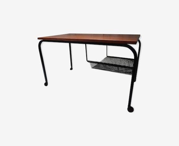 eadfdd86fa Vintage teak coffee table with magazine rack, 1950 - metal - black ...