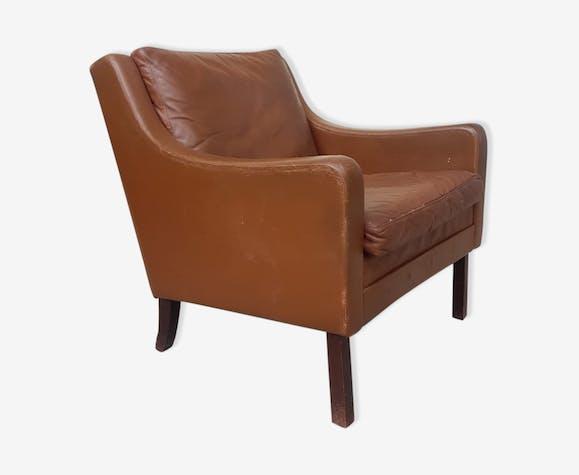 Vintage Mid Century 70s Danish Leather Armchair Selency