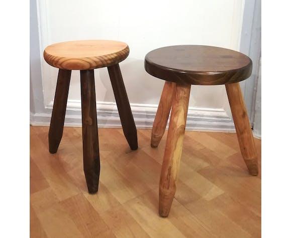 Two tripod stools wooden feet pencils