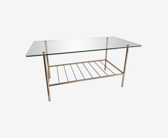 Table basse moderniste laiton et verre années 50/60