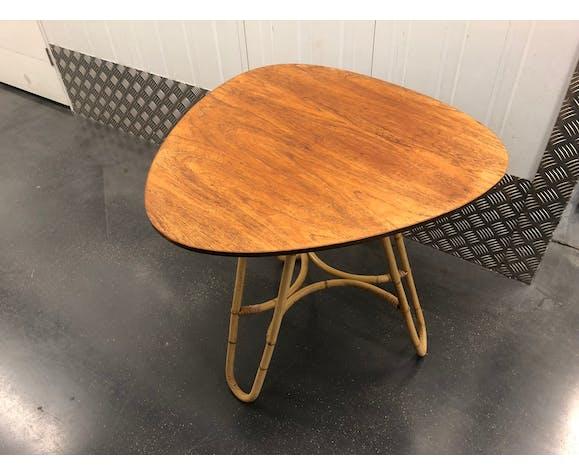 Table basse forme libre 1960 rotin et teck