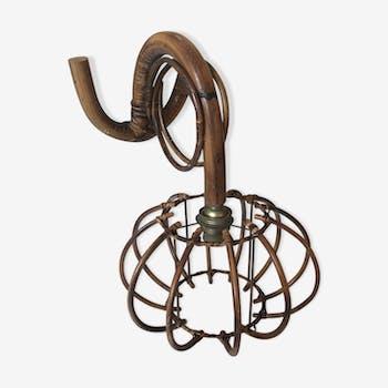 Applique en rotin forme cage vintage