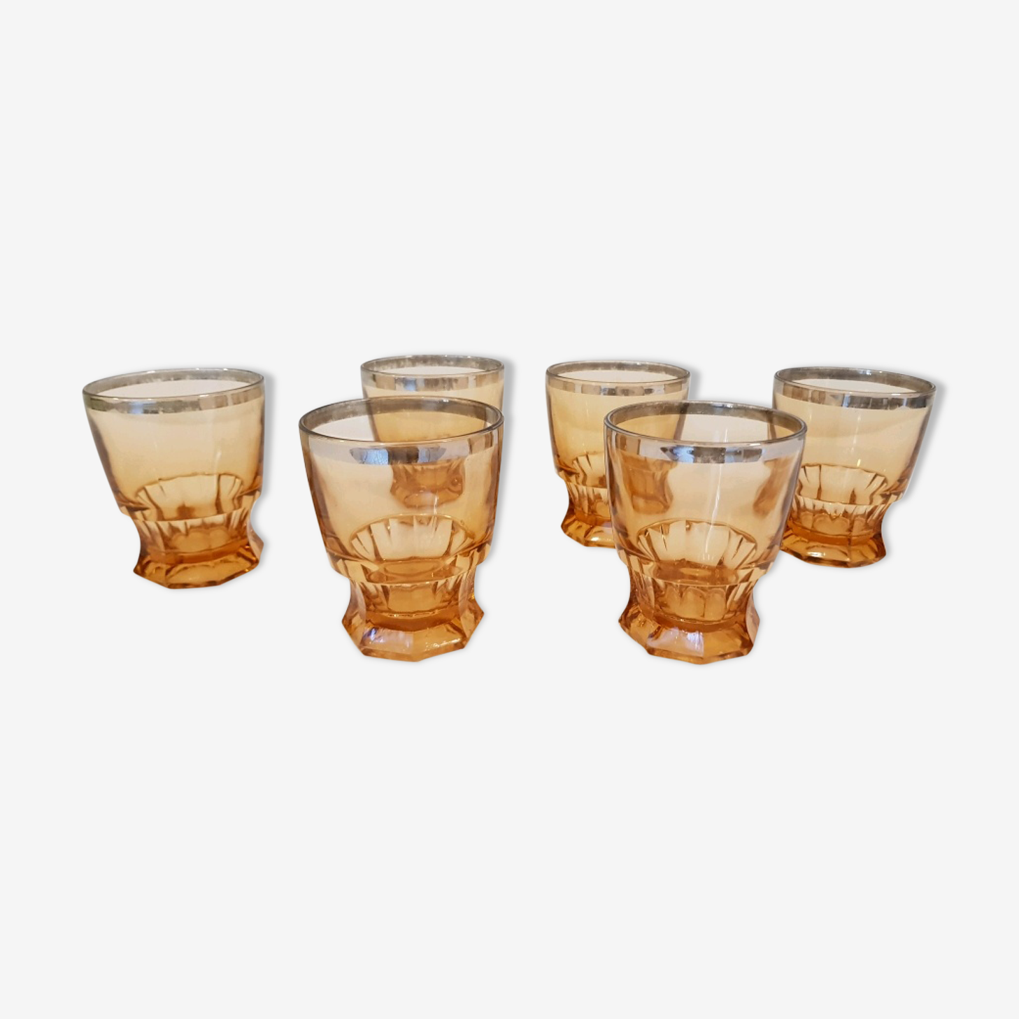 6 thick glass amber water glasses