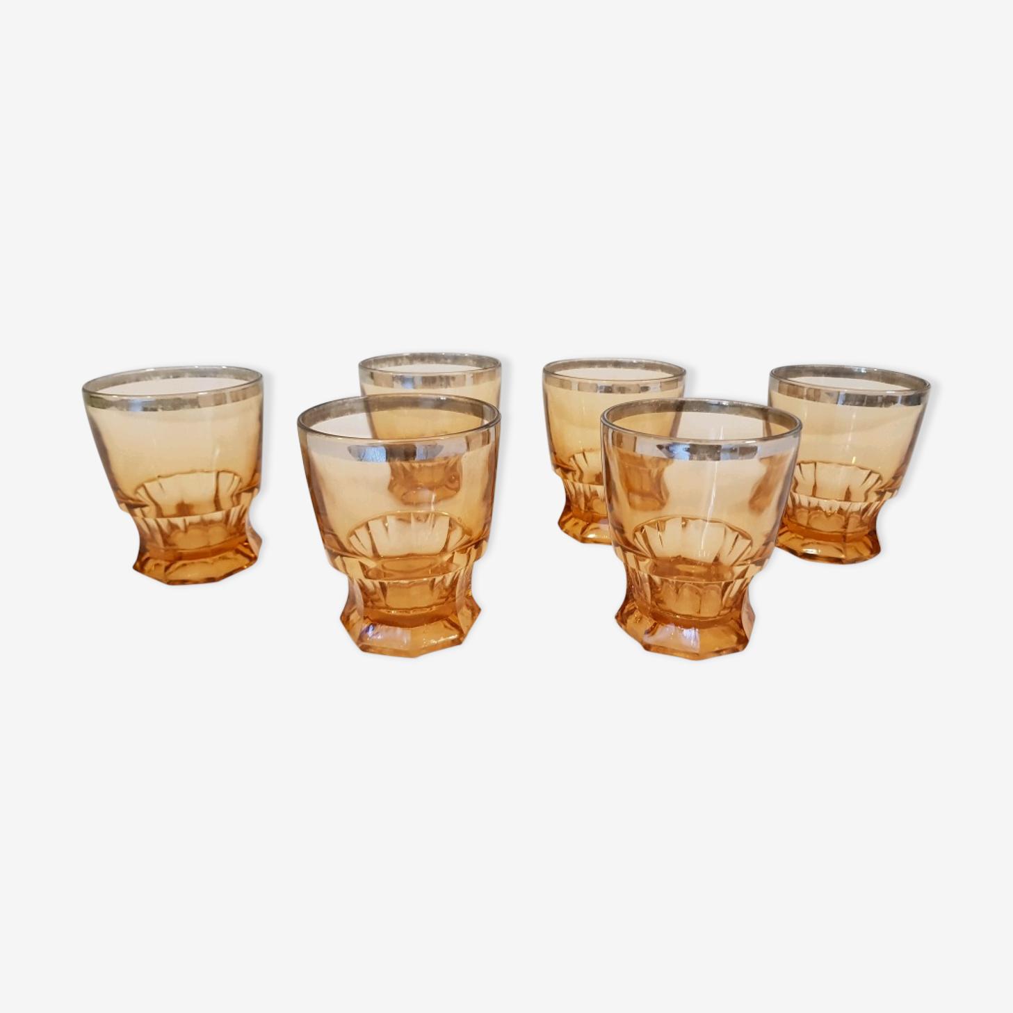 6 verres à eau en verre épais ambré