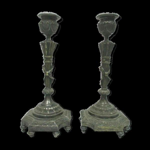 Paire de bougeoirs en bronze de style Louis XVI 1900