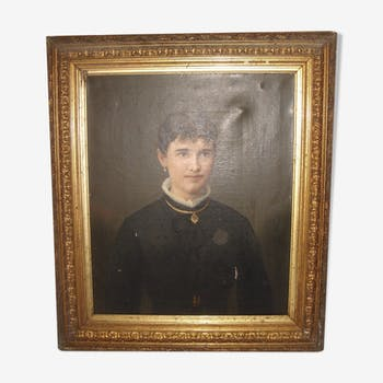oil portrait of woman in 1895 with frame Brideland Golden wood