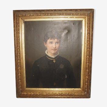 Portrait à l'huile de femme de Brideland de 1895 avec cadre bois doré