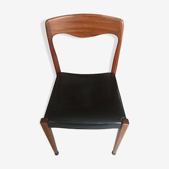 Chaise scandinave en teck et simili cuir - 1950