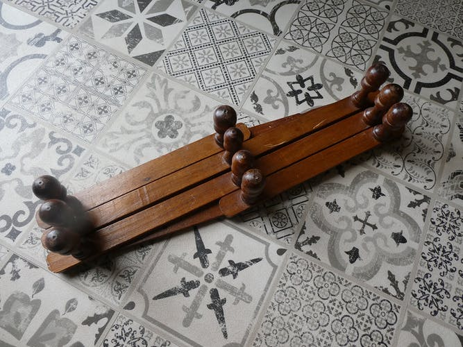 Porte manteau bois accordéon vintage