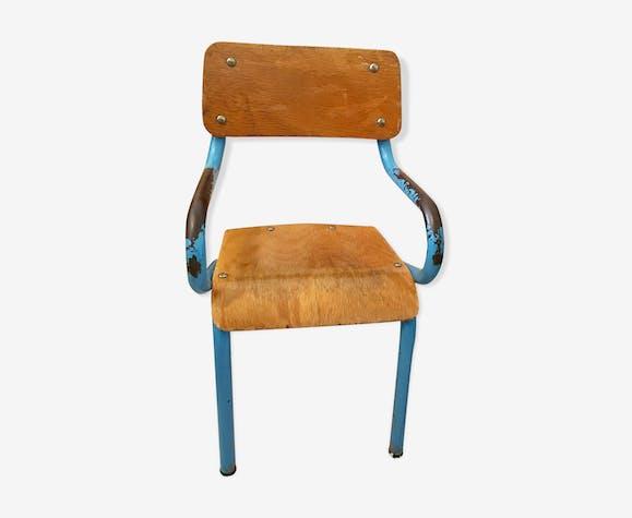 Chaise écolier vintage bleue