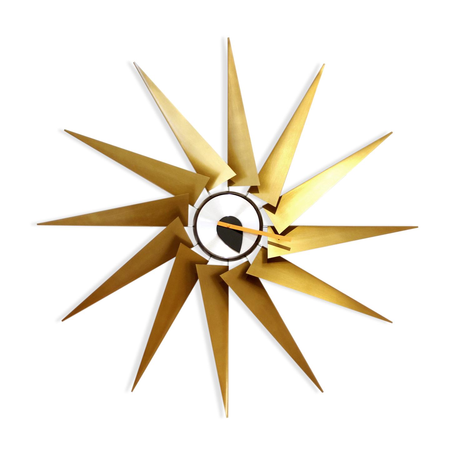 "horloge ""turbine"" george nelson - laiton - doré - design - b1hi5dr"
