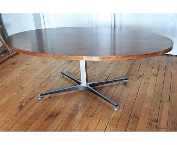 Table basse monte/baisse bois pied metal Ilse