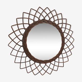 Miroir soleil vintage en rotin 44cm