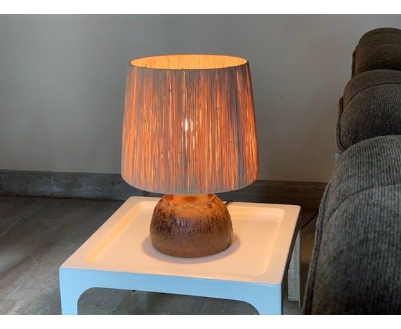 Lampe en céramique abat jour en raphia années 60