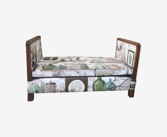 Banquette style méridienne ancienne tapissée