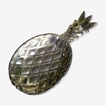Vide poche ananas en métal argenté