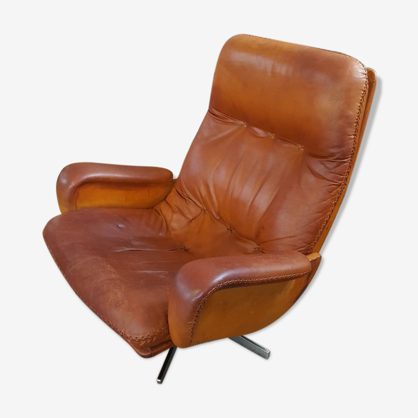 Lounge chair en cuir scandinave édité par Ring mobelfabrikk