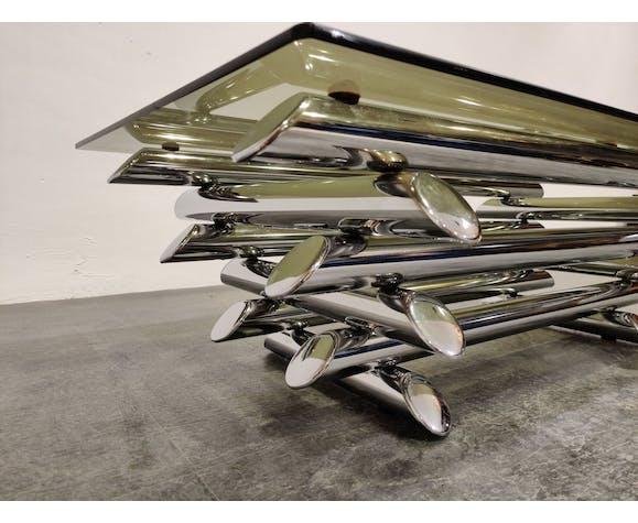 Table basse chromée tubulaire vintage, années 1970
