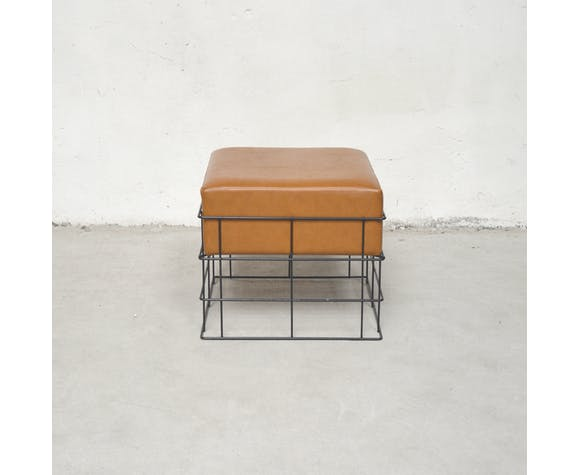 Ottoman in imitation and metal, 1960