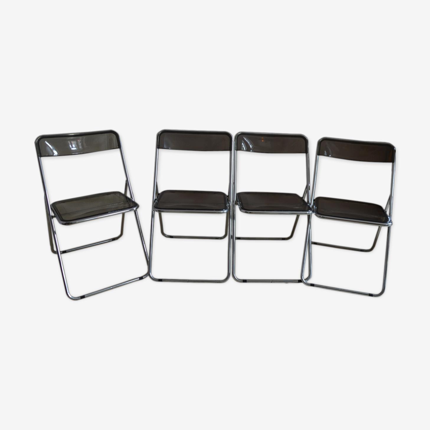 Set De Quatre Chaises Pliantes Chrome Et Plexiglas Fume 1970s