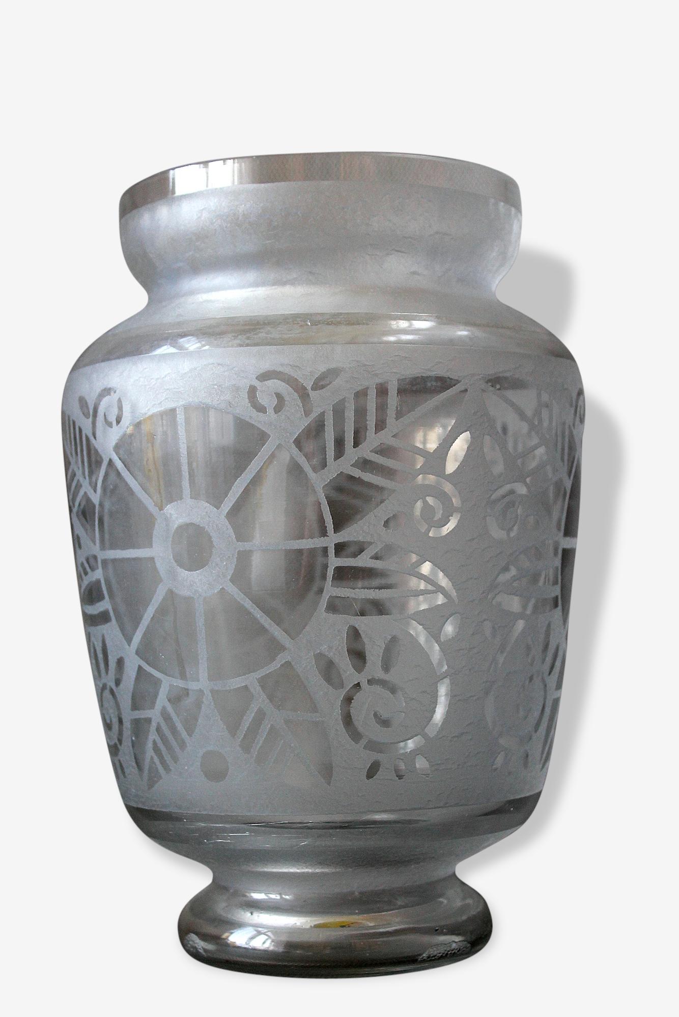Art Deco / Daum / Nançy / Superbe Grand Vase en Verre Signé Lorrain France / 1925