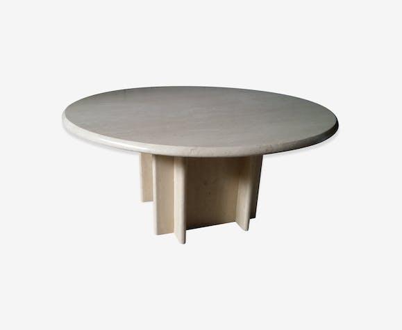 table basse travertin vintage des ann es 70 edition roche bobois marbre blanc design fti9mfw. Black Bedroom Furniture Sets. Home Design Ideas