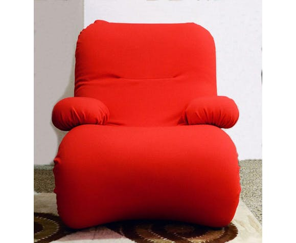 Red Armchair with Chromed Details, Italy, 1970