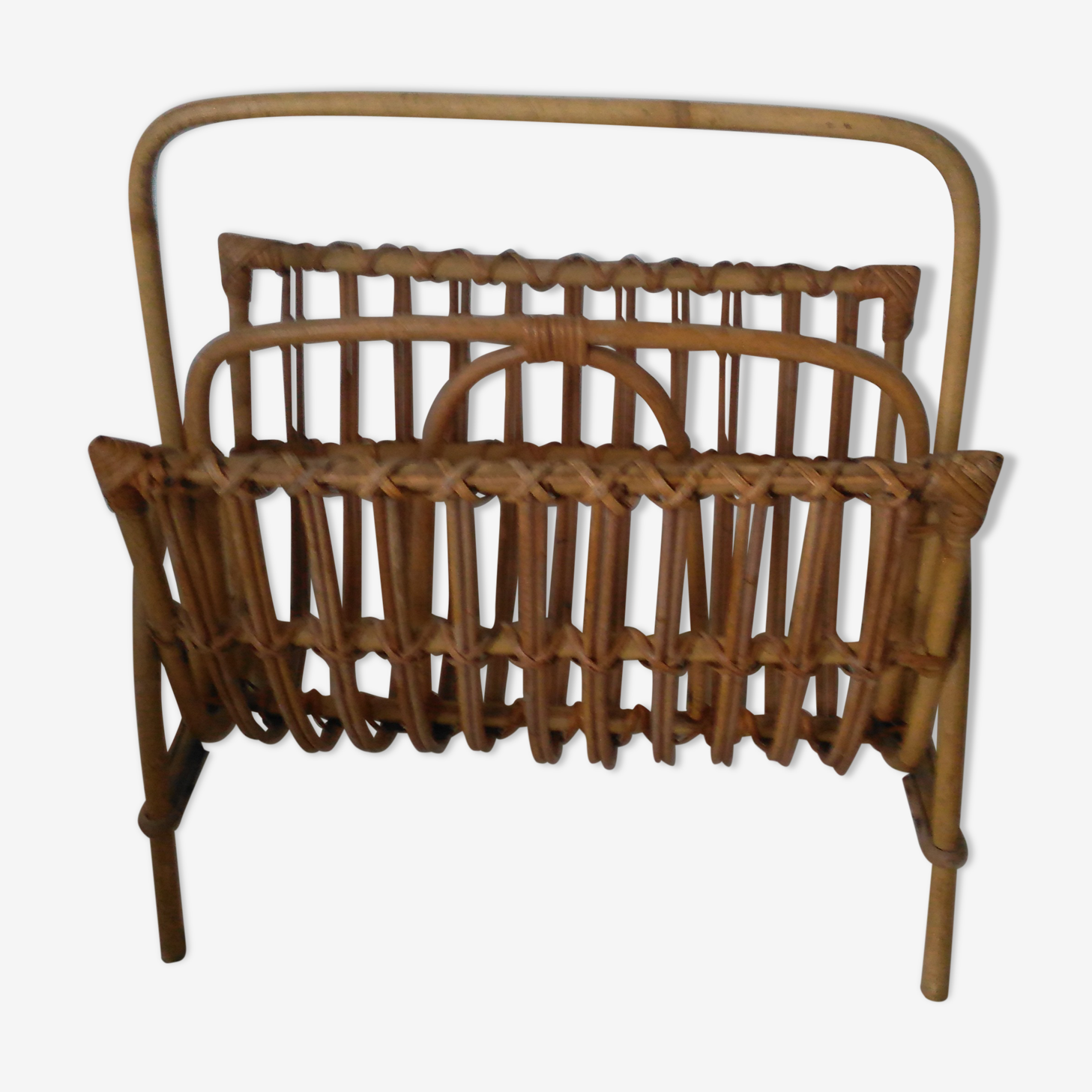 Vintage wicker magazine rack